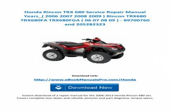 2012 Honda Rincon 680 Owners Manual