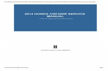 2014 Honda Crf450r Service Manual Free Download