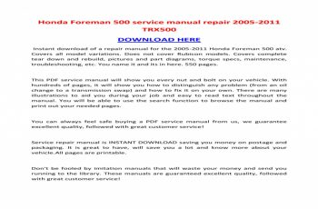 2014 Honda Trx 500 Service Manual Free Download