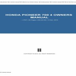 2015 Honda Pioneer 700 4 Owners Manual