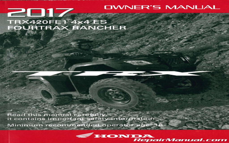 2017 Honda Rancher 420 Owners Manual