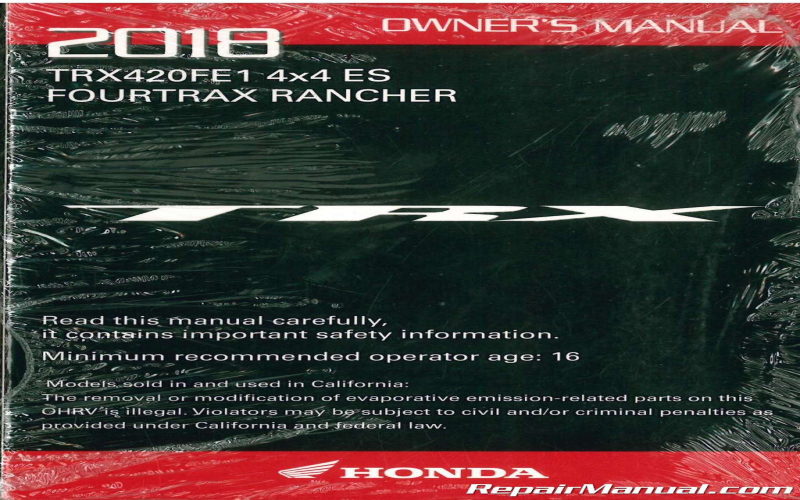2018 Honda Atv Owners Manual
