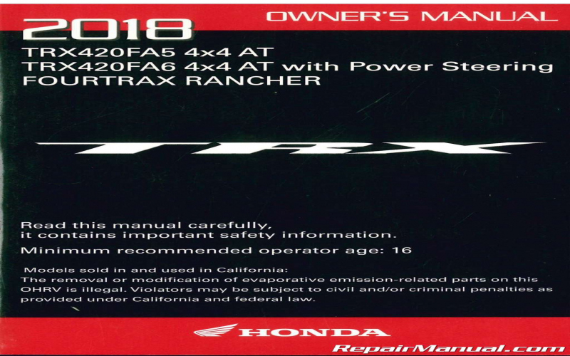 2018 Honda Owners Manual