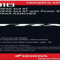 2018 Honda Rancher Owners Manual Pdf