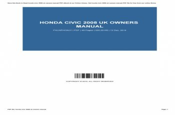 Honda Civic 2015 Owners Manual Uk