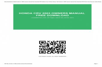 Honda Crv 2003 Owners Manual Free Download