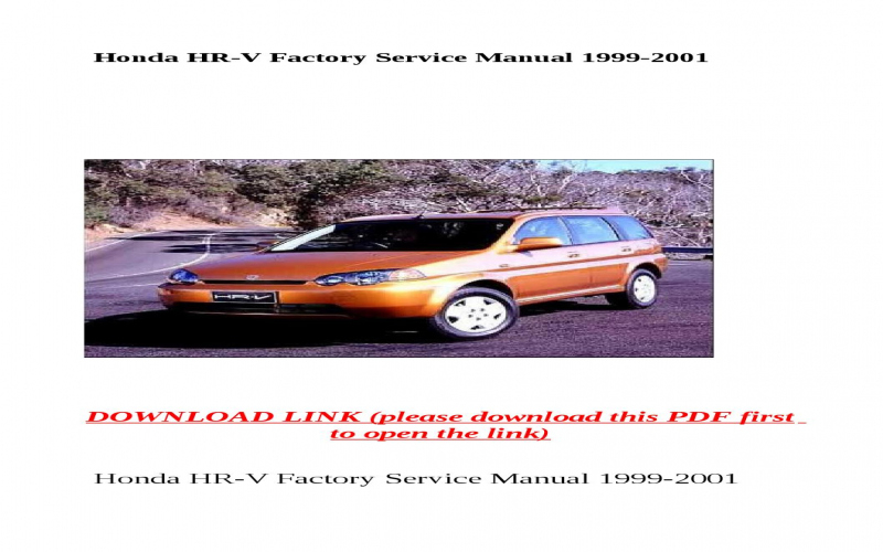 Honda Hrv 2000 Owners Manual