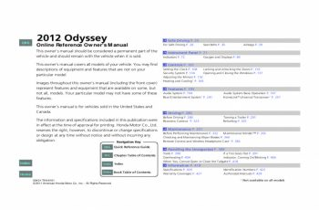 Owners Manual For 2012 Honda Odyssey