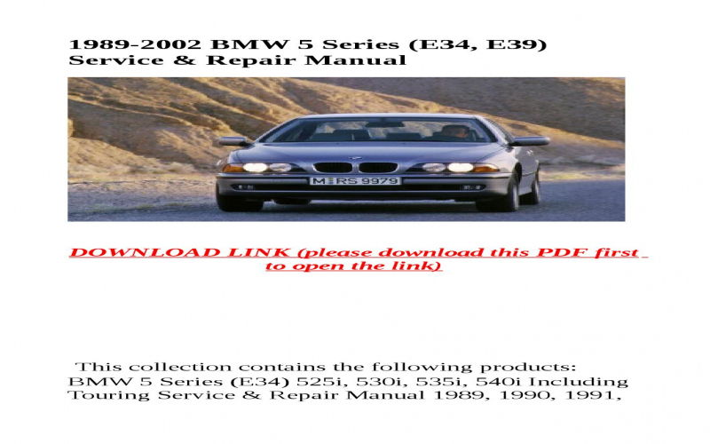 1993 BMW 525i Owners Manual