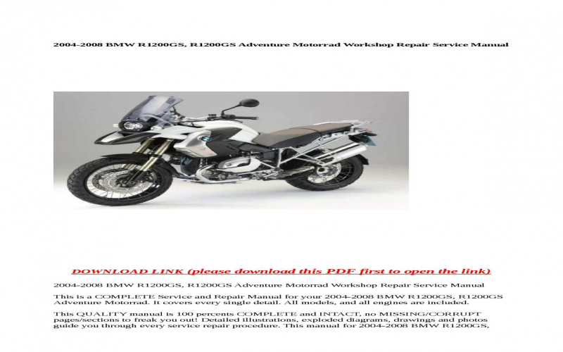 2006 BMW R1200gs Adventure Owners Manual