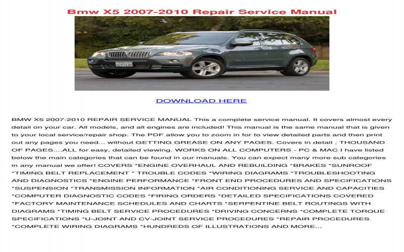 2008 BMW X5 Owners Manual Download