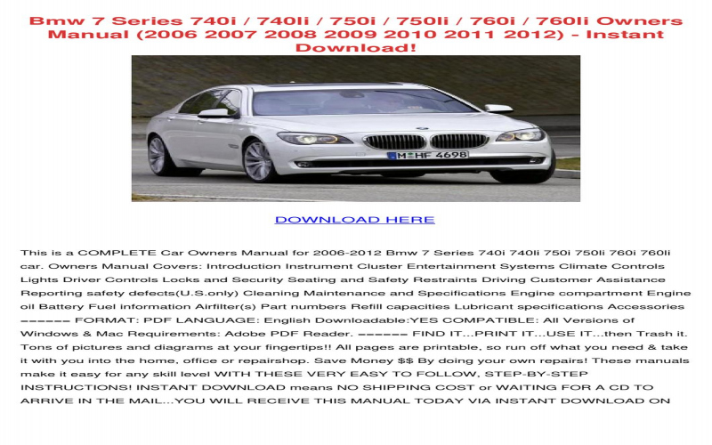 2011 BMW 750i Owners Manual