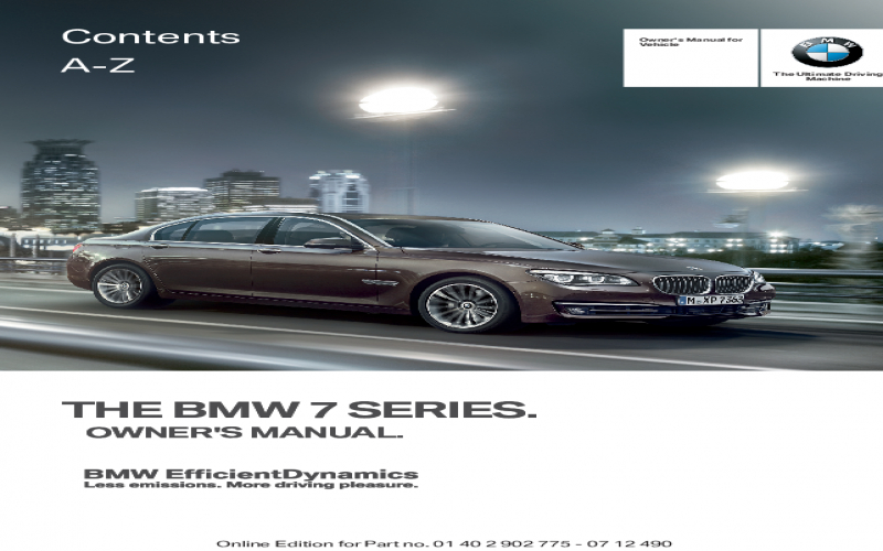 2013 BMW 750i Owners Manual