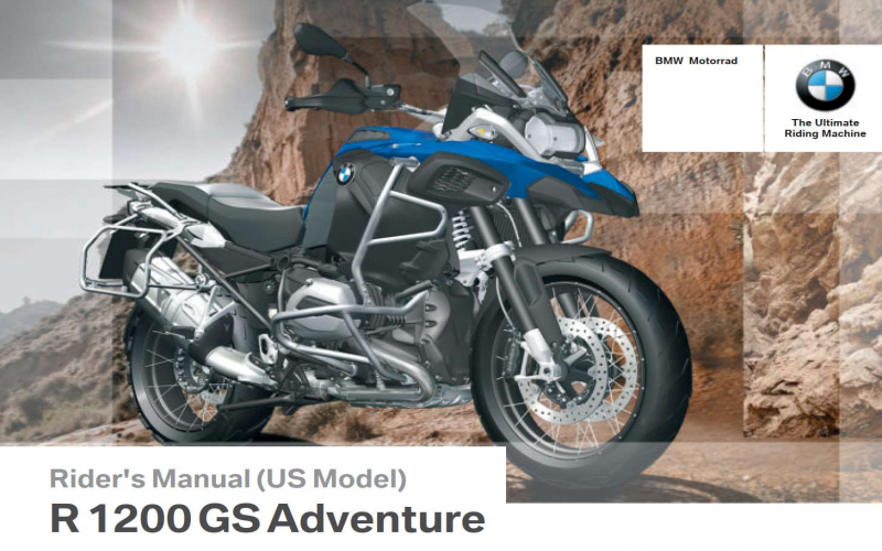 2014 BMW R1200gs Adventure Owners Manual