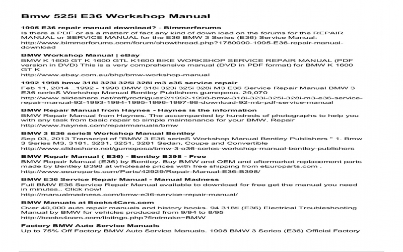 94 BMW 325i Owners Manual