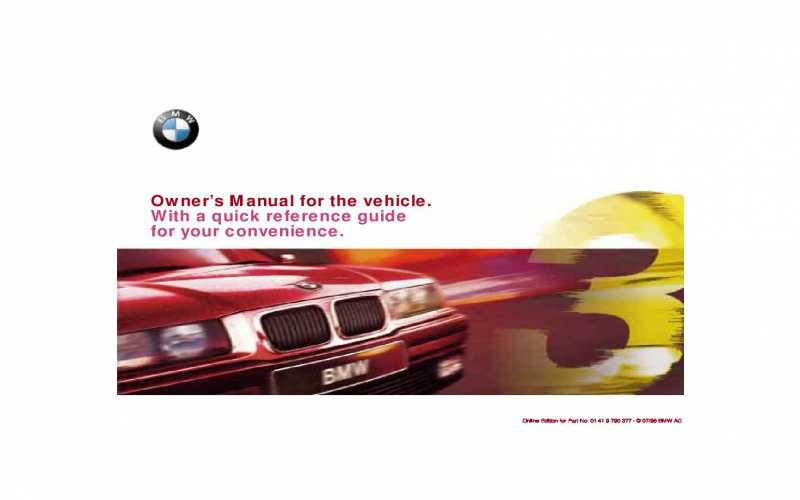 BMW 316i 1998 Owners Manual