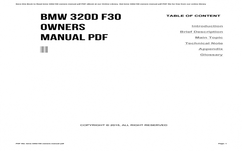 BMW F30 320d Owners Manual
