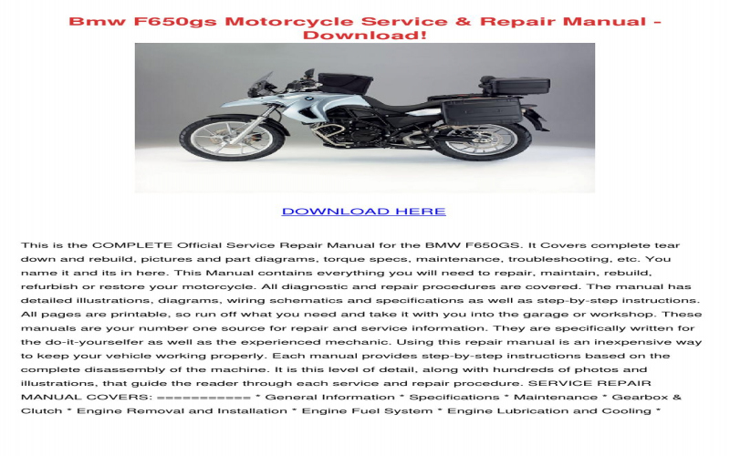 BMW F650gs Owners Manual Download