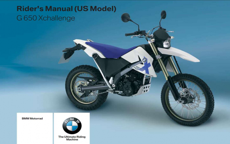 BMW G650 Xchallenge Owners Manual