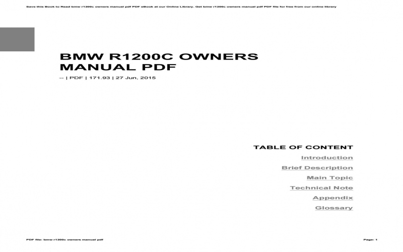 BMW R1200c Owners Manual