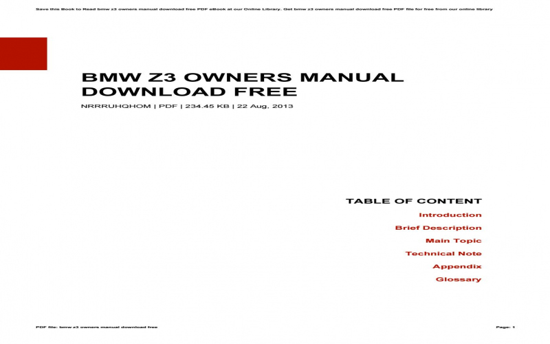 BMW Z3 Owners Manual Download Free