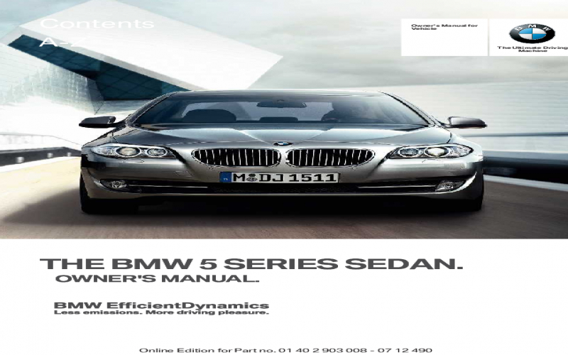 Owners Manual 2009 BMW 550i