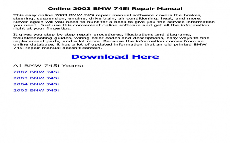 Owners Manual For 2003 BMW 745li