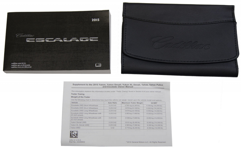 2015 Escalade Owners Manuals
