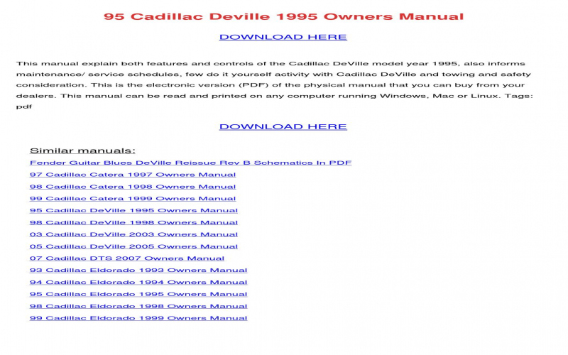 97 Cadillac Deville Owners Manual