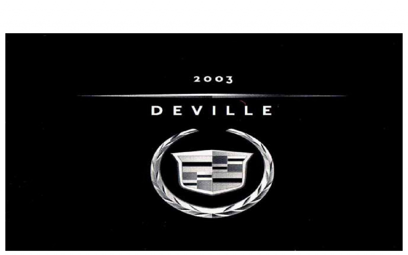 Cadillac Deville 2003 Owners Manual