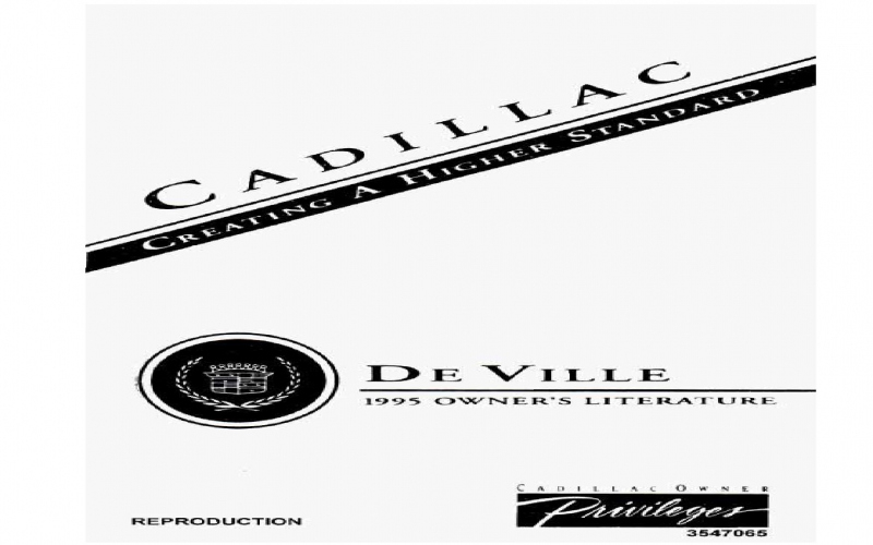 Owners Manual 1995 Cadillac Deville