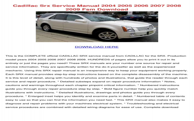 Owners Manual For 2008 Cadillac Srx