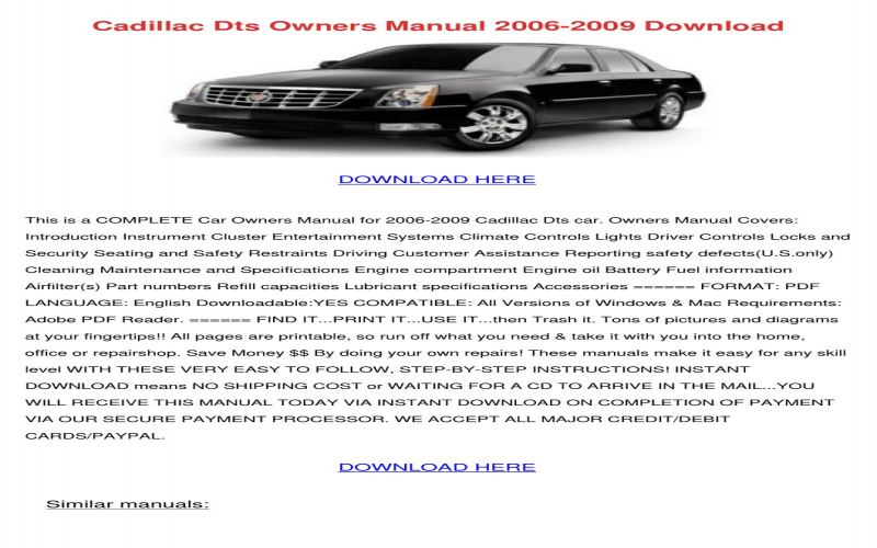 Owners Manual For A 2006 Cadillac Dts