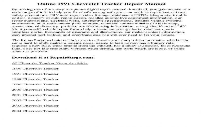 2000 Chevy Tracker Owners Manual