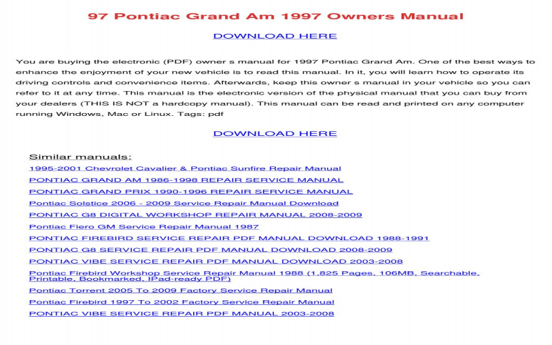 2001 Chevy Cavalier Owners Manual Download