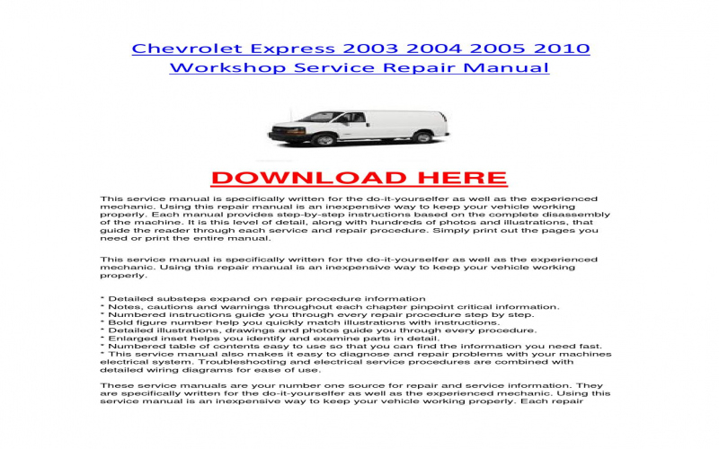 2004 Chevy Express Van Owners Manual