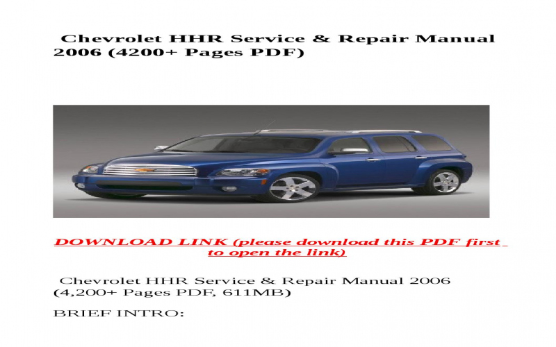 2006 Chevrolet Hhr Owners Manual