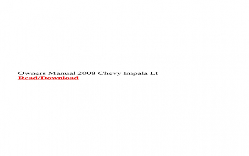 2008 Chevy Impala Lt Owners Manual
