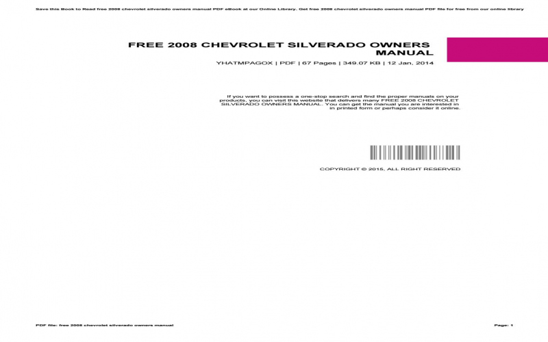 2008 Chevy Silverado Owners Manual Download