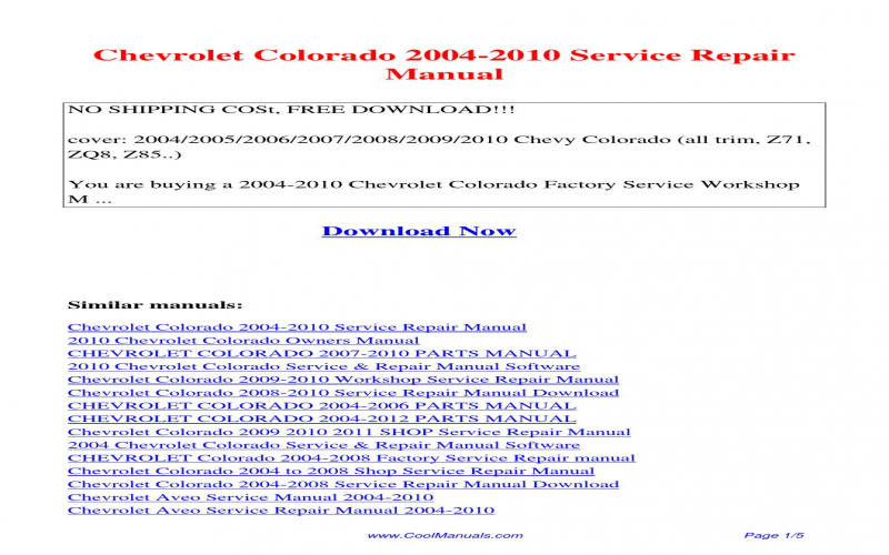 2010 Chevy Colorado Owners Manual