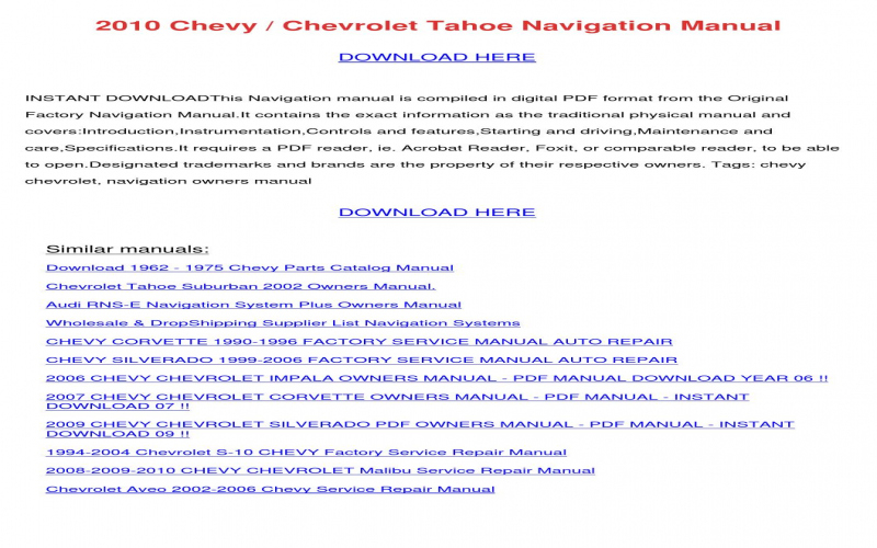 2010 Chevy Tahoe Owners Manual Pdf
