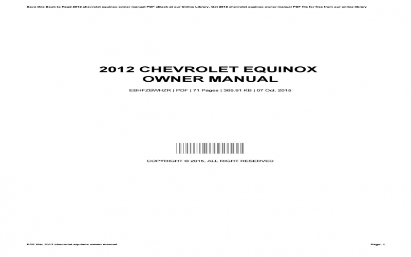 2012 Chevrolet Equinox Owners Manual Pdf