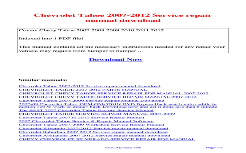 2012 Chevy Tahoe Owners Manual Pdf