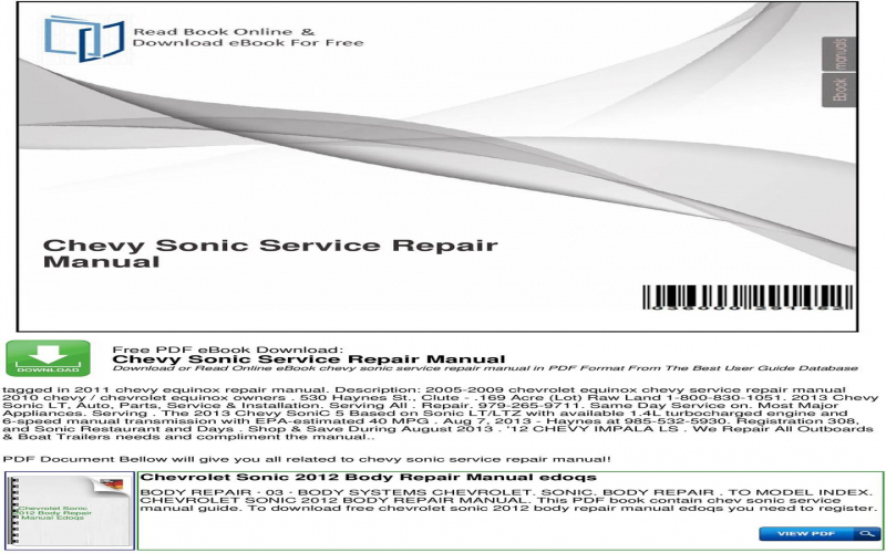 2013 Chevrolet Sonic Owners Manual Pdf