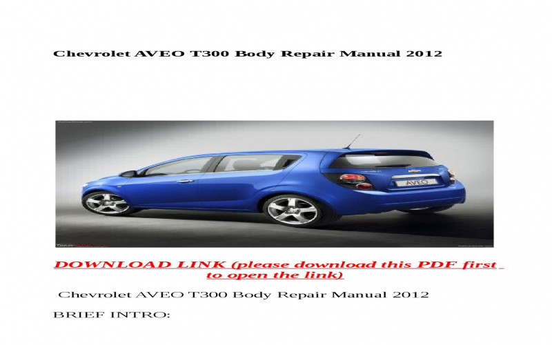 Chevrolet Aveo Owners Manual 2012