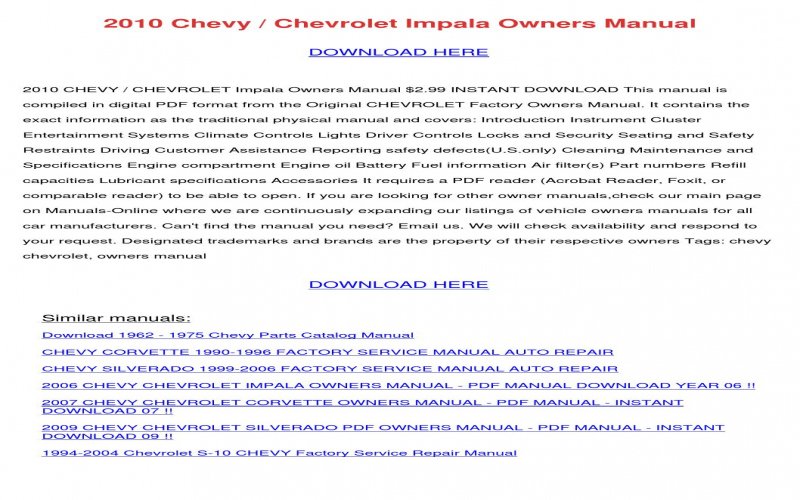 Owners Manual For 2010 Chevy Impala