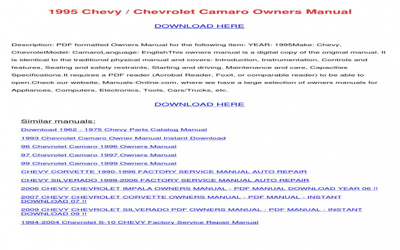 Owners Manual For A 2007 Chevy Trailblazer