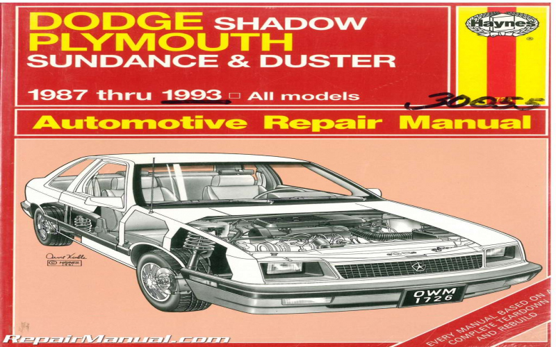 1993 Dodge Shadow Owners Manual