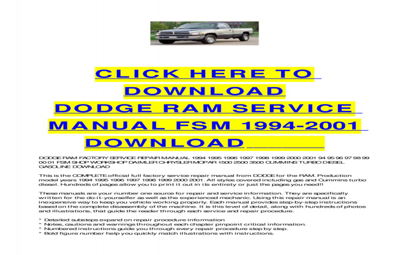 1998 Dodge Ram 2500 Owners Manual