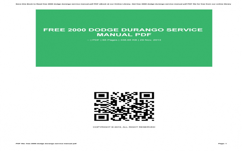 2000 Dodge Durango Owners Manual Free